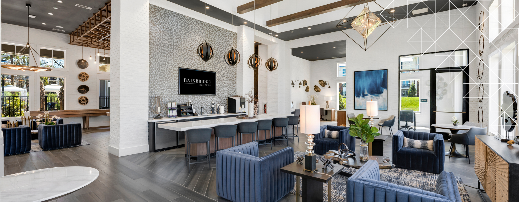 luxurious clubroom with high ceilings and stylized lighting
