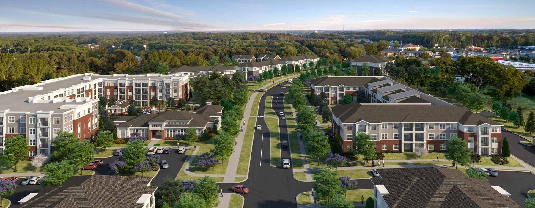 property rendering of Matthews Station and surrounding neighborhood populated with mature trees