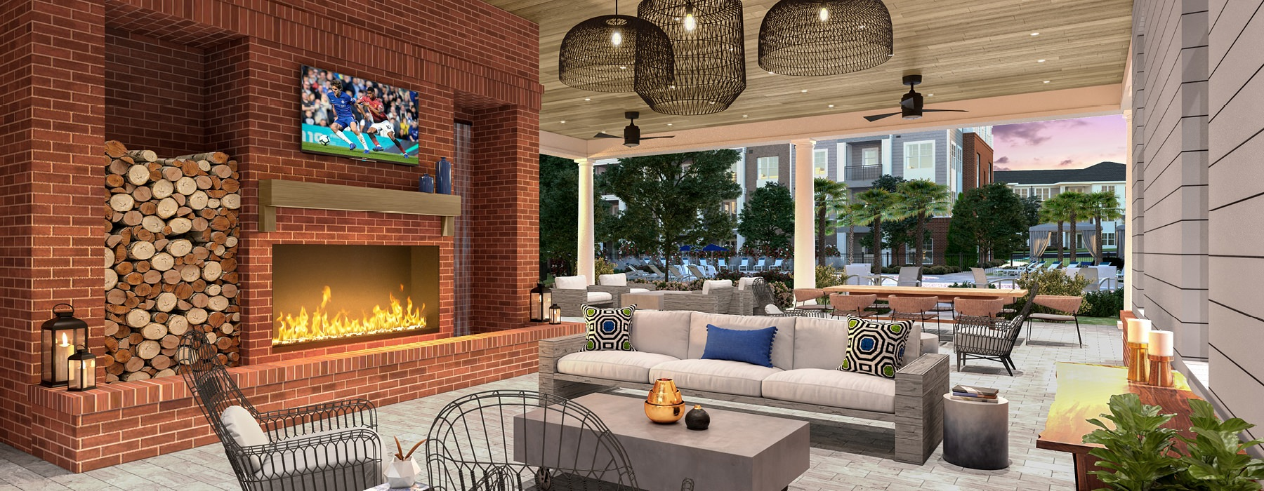 outdoor pavilion with fire place and recessed lighting fixtures
