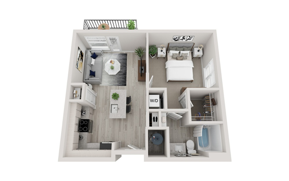A1 - 1 bedroom floorplan layout with 1 bath and 663 square feet.