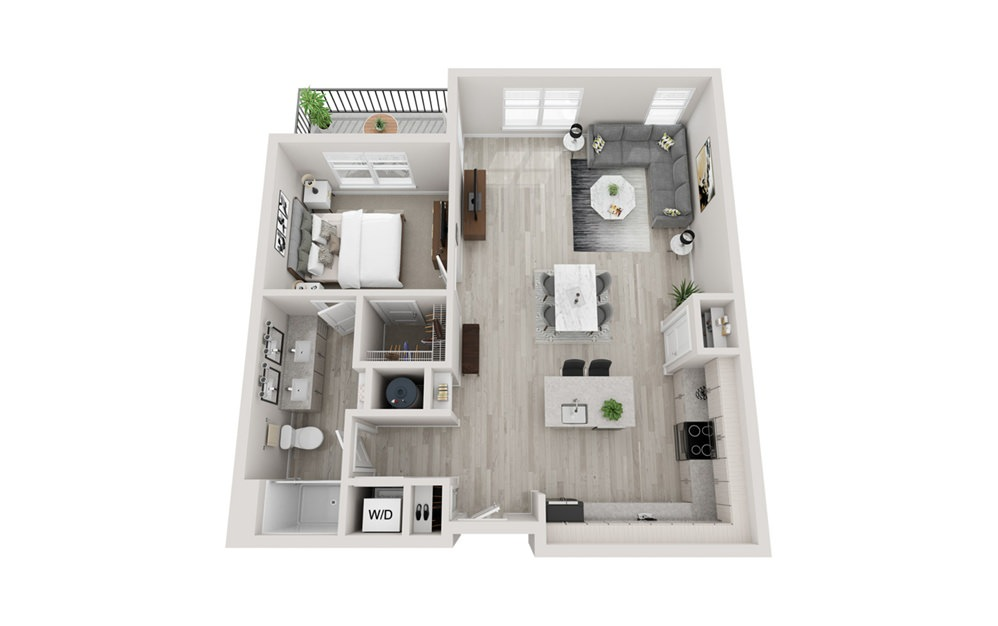 A5 - 1 bedroom floorplan layout with 1 bath and 959 square feet.