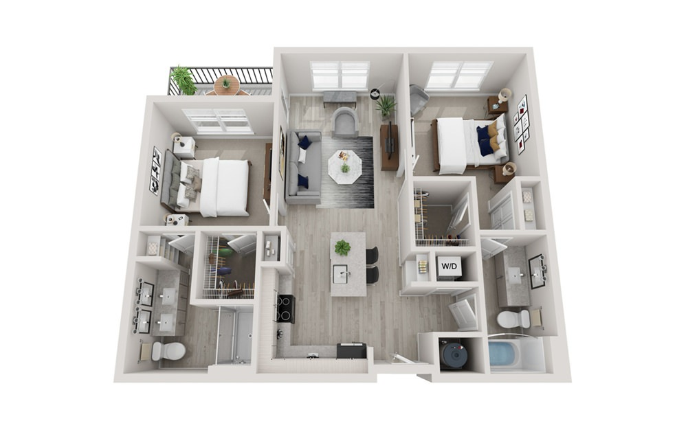 B1 - 2 bedroom floorplan layout with 2 baths and 1025 square feet.