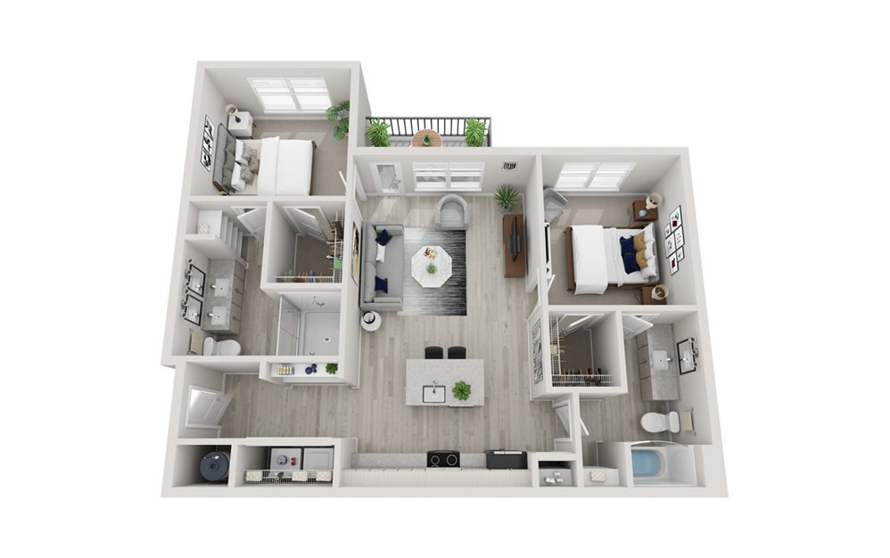 B2 - 2 bedroom floorplan layout with 2 baths and 1148 square feet.