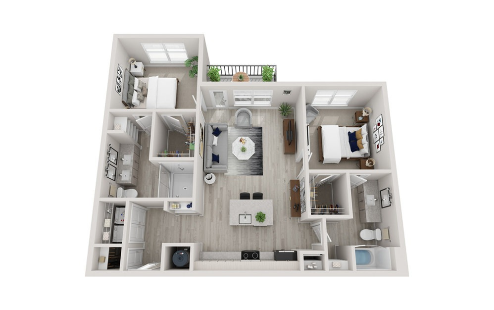 B3 - 2 bedroom floorplan layout with 2 baths and 1157 square feet.