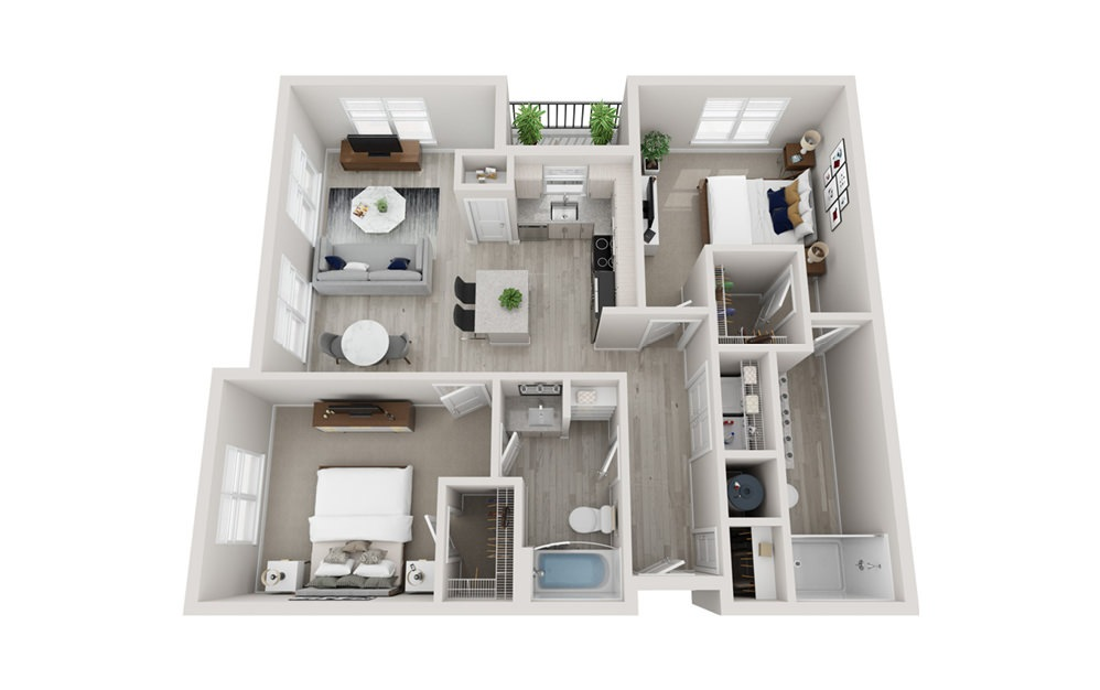 B4 - 2 bedroom floorplan layout with 2 baths and 1195 square feet.