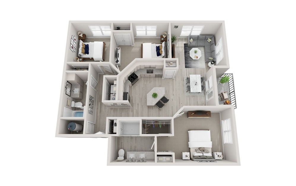 C1 - 3 bedroom floorplan layout with 2 baths and 1426 square feet.