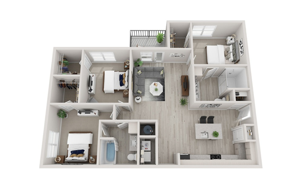 C2 - 3 bedroom floorplan layout with 2 baths and 1437 square feet.