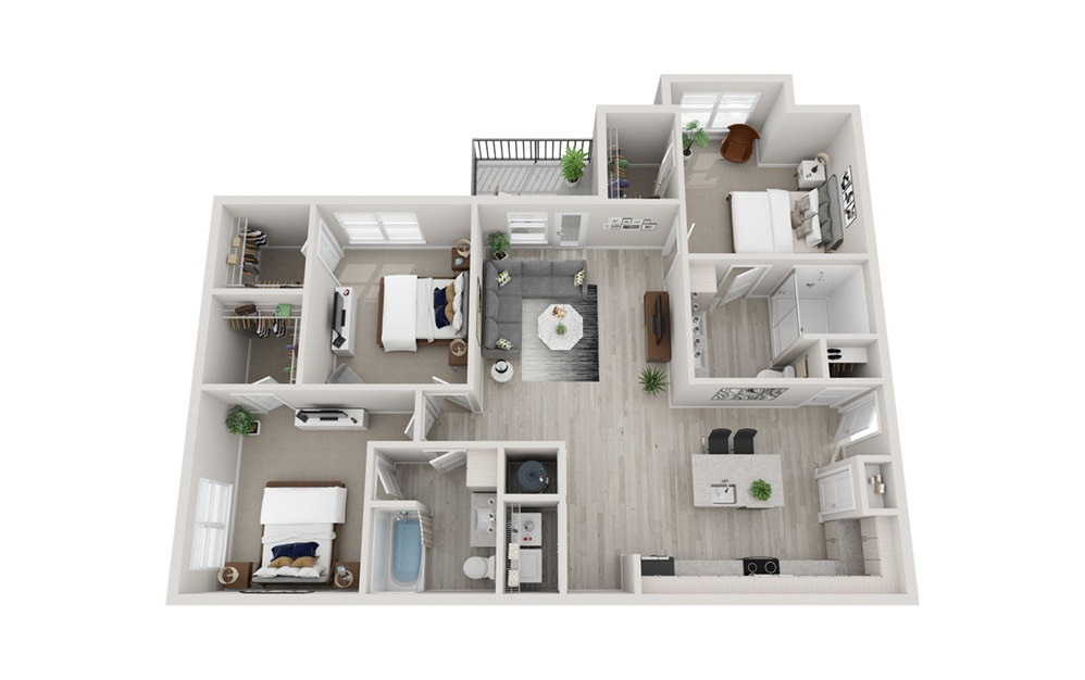 C3 - 3 bedroom floorplan layout with 2 baths and 1451 square feet.