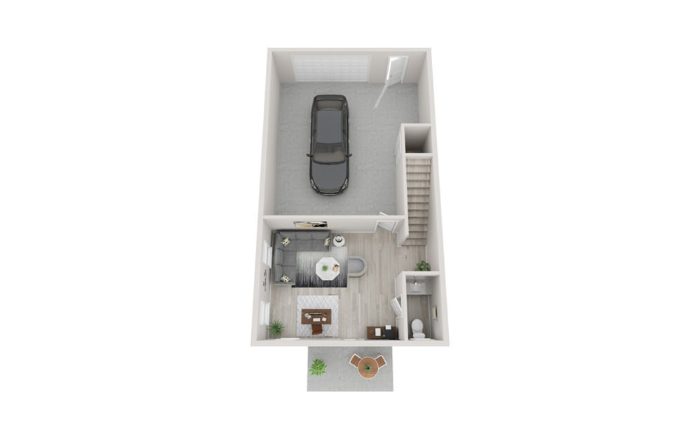 TH1 - 2 bedroom floorplan layout with 2.5 baths and 1713 square feet. (Floor 1)